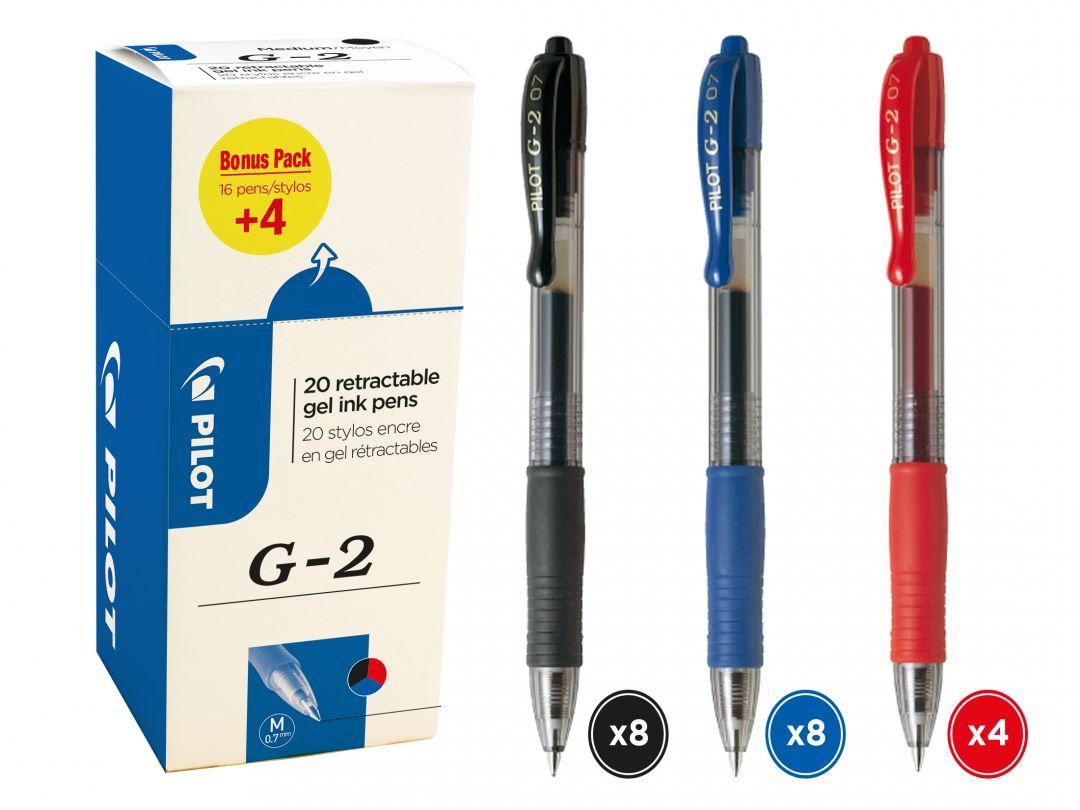 G2 - Jel Mürekkepli Roller Kalem - 20'li Promosyon Stant - Siyah, Mavi, Kırmızı - Orta Uç